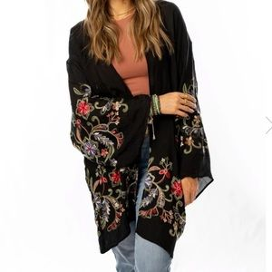 Black sheer kimono with embroidered floral accents